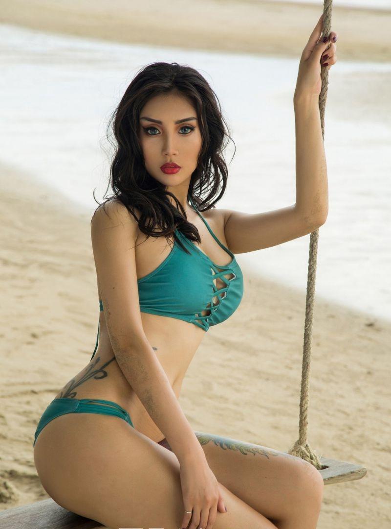纹身美女沙滩泳衣比基尼翘臀熟女性感诱惑写真[61P]
